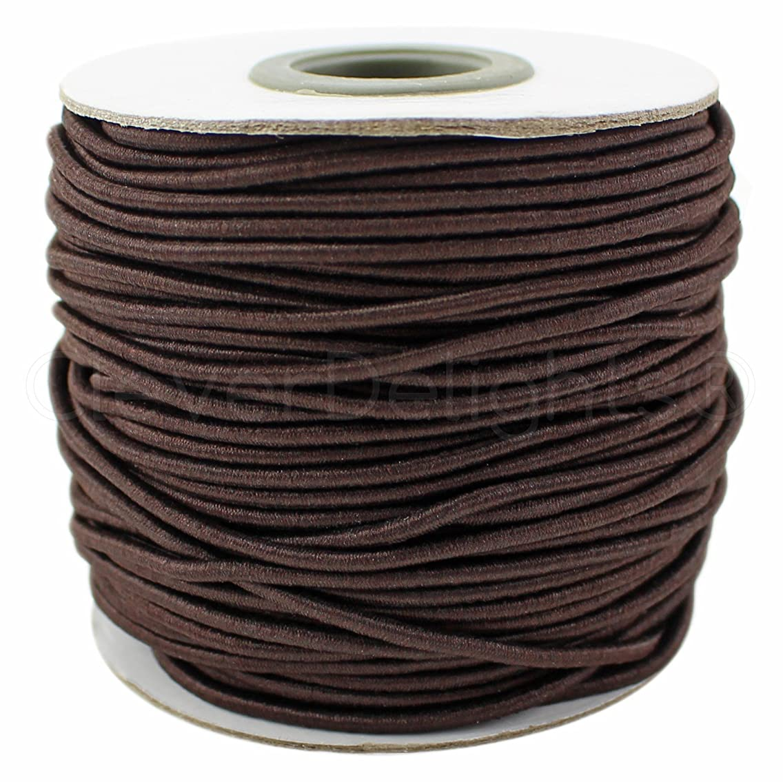 CleverDelights Brown Fabric Elastic Cord - 44 Yards - 2mm - Crafts Beading Jewelry Stretch Shock Cording