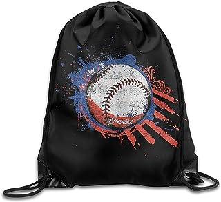 Baseball USA Flag Unisex Drawstring Backpack Travel Sports Bag Drawstring Beam Port Backpack.