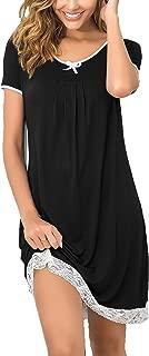Hotouch Sleepwear Womens Cotton Nightgown Short Sleeve Sleep Nightdress Scoopneck Sleep Tee Nightshirt S-XXL
