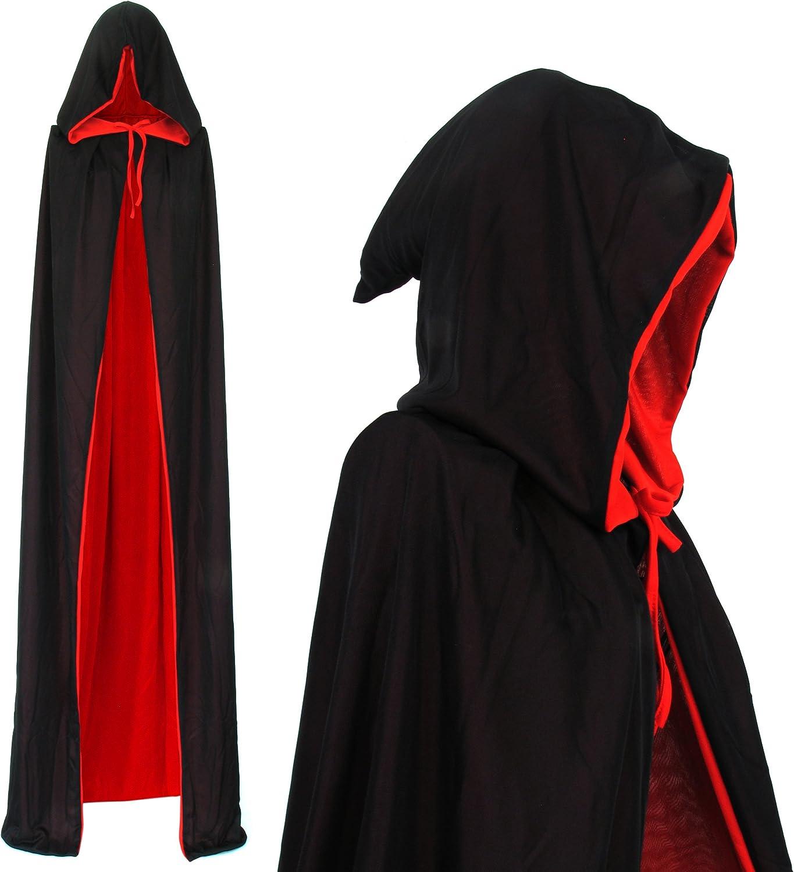 Lifreer Cape de Vampire pour Enfants Halloween 35 Pouces Cape r/éversible Rouge Noir Cache-Oeil pour d/éguisement dhalloween Chapeau de Pirate