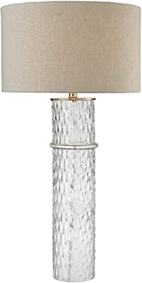 "Diamond Lighting D2653 Two Tier Glass Table Lamp with Grey Linen Shade, 18"" x 18"" x 33"""
