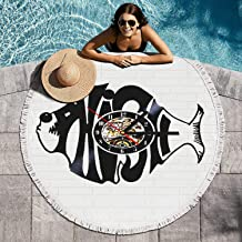 RIIZOODn Round Beach Towel Phish Fish Rock Music Logo Large Multi-Purpose Towel Beach Mat 60