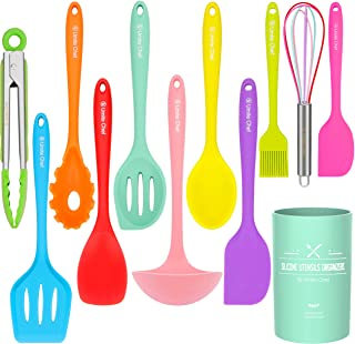 Silicone Cooking Utensils Kitchen Utensil Set-12 Pieces Colorful Kitchen Utensils Cooking Tools Turner Tongs Spatula Spoon for Nonstick Cookware - Best Kitchen Tools with Utensil Crock by Umite Chef