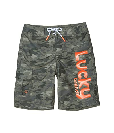 Lucky Brand Kids Camo Boardshorts (Big Kids) (Burnt Olive Camo) Boy