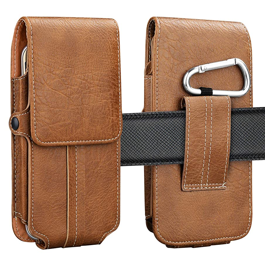 Njjex Phone Holster, Vertical Luxury PU Leather Belt Clip Pouch Wallet Carrying Case & Card Slots for Moto Z2 Z3 Z4 Play, X4, E4, E5 Play, E5 Plus, G6 Play, G6 Forge, G7 Plus, G7 Power, G7 Play -Brown