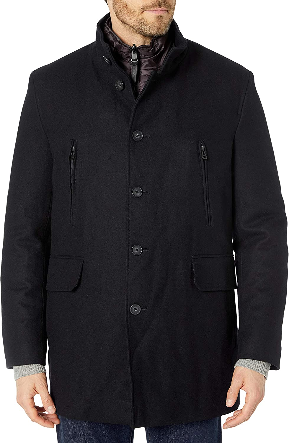Cole Haan Men's Melton 3-in-1 Wool Jacket with Removable Bib