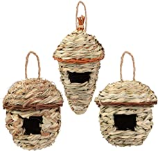 Aneco 3 Pack Hand Woven Hummingbird Houses Natural Grass Bird Nest Outdoor Hanging Birdhouse, 3 Styles