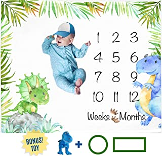 Dinosaur Month Blanket Boy, Baby Monthly Milestone Blankets, Infant Dino Nursery Tyrannosaurus Rex, Triceratops Baby Shower Gifts, Nap Mat Girl, Photography Photo Props (Minky 50x40