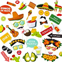 Mexican Photo Booth Props (44Pcs),Perfect for MexicanThemed Party, Mexican Fiesta Party Favor Supplies Decorations