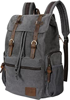 17 inch Canvas Backpack Vintage Leather Laptop School Bag Travel Daypack Grey
