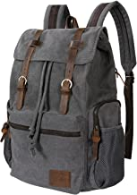 Lifewit 17 inch Canvas Backpack Vintage Leather Laptop School Bag Travel Daypack Grey