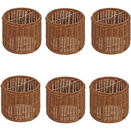 """LAMPSHADES A PAIR HOTEL STYLE 12/""""H x 16/""""w x 6/""""wT WEAVED WICKER TROPICAL  SHADES"""