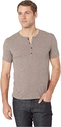 Short Sleeve Henley in Splatter Print
