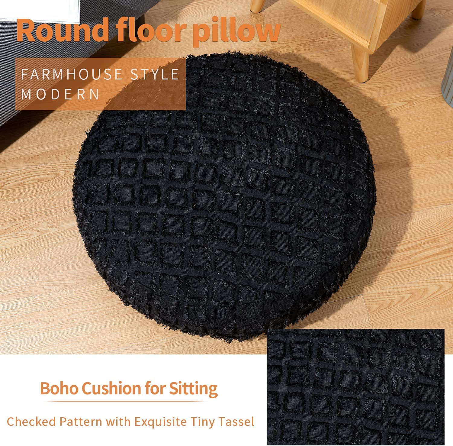 HIGOGOGO Floor Pillow, Solid Color Plaid Floor Cushion, Round 3D Handmade Color-Checkered Floor Pouf Seating with Removable Cover for Reading, Study, Movies and Games, Black, Diameter 24 Inch: Kitchen & Dining