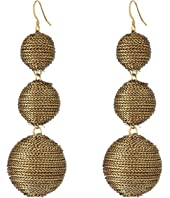 3 Gold Thread Small to Large Wrapped Ball Post Fish Hook Ear Earrings