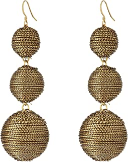 Kenneth Jay Lane 3 Gold Thread Small to Large Wrapped Ball Post Fish Hook Ear Earrings