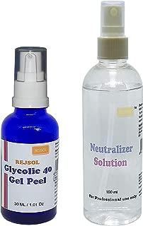 REJSOL Glycolic 40 Gel Peel, Glycolic Acid 40% 30 Ml With Neutralizer 100 Ml Chemical Peel, Peeling Kit, 500 g