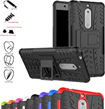 Nokia 5 Case,Mama Mouth Shockproof Heavy Duty Combo Hybrid Rugged Dual Layer Grip Cover with Kickstand for Nokia 5 5.2 inch 2017 (with 4 in 1 Packaged),Black