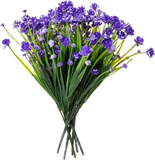 Red Co. Faux Floral Grass Bouquet, Artificial Fake Greenery Flowers for Home and Outdoor Garden Decor, 6 Single Picks, Spring Purple