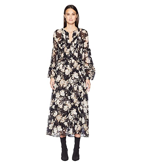The Kooples Long Dress with Lace In A French Baroque Print