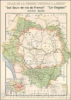 Historic Map - Les Eaux-de-vie de France/Regional Maps Louis Larmat's important atlas of the French Wine Country Atlas De La France Vinicole, 1941 - Vintage Wall Art 44in x 62in