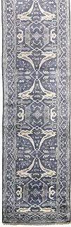 Landry & Arcari Indoshak Collection J41959 Hand-Woven Slate Oushak Design Wool Rug Runner 4 feet by 19 Feet (4x19)