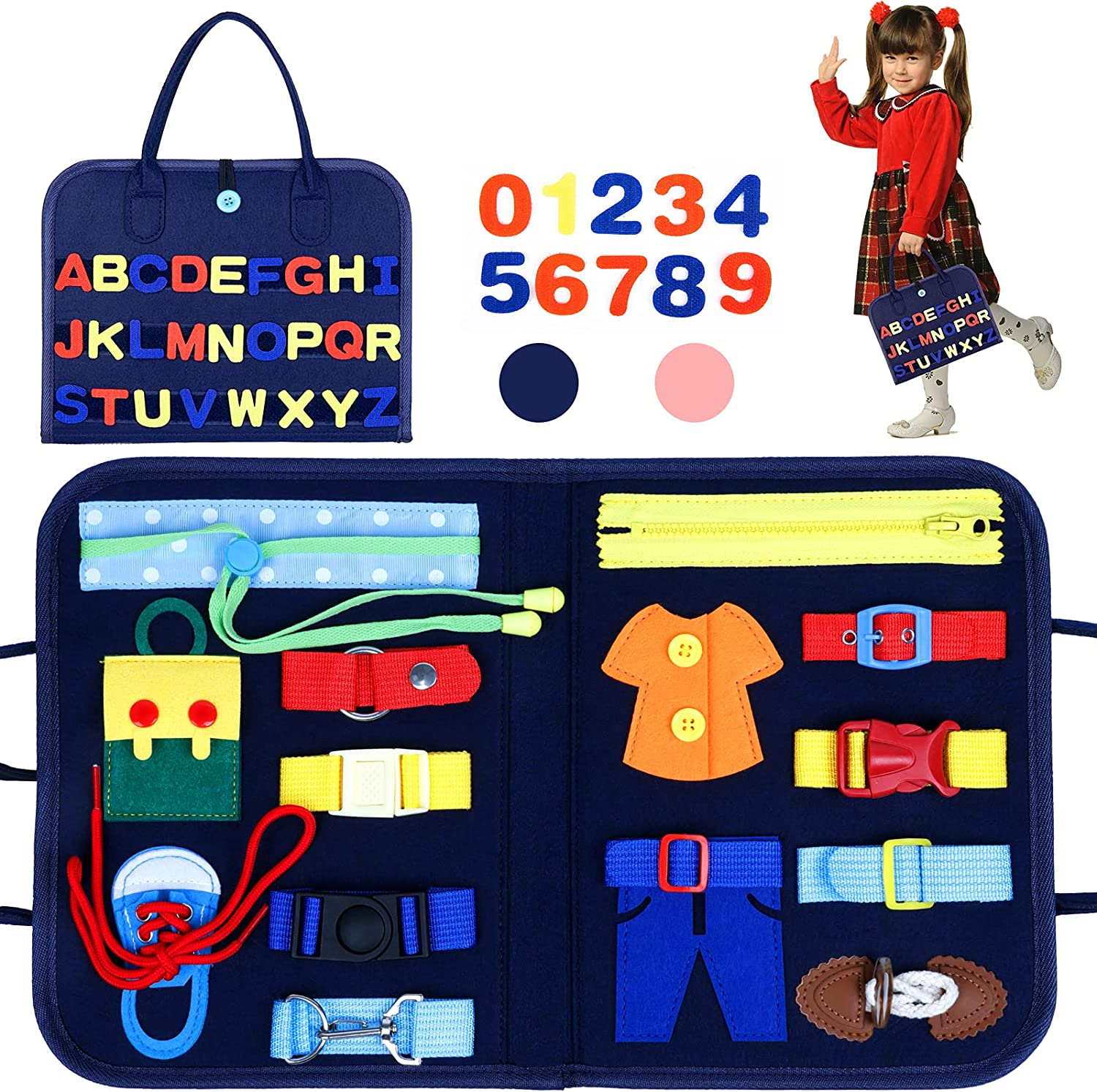 Busy Board Montessori Toys for Toddlers Sensory 1 2 3 4 Year Blue