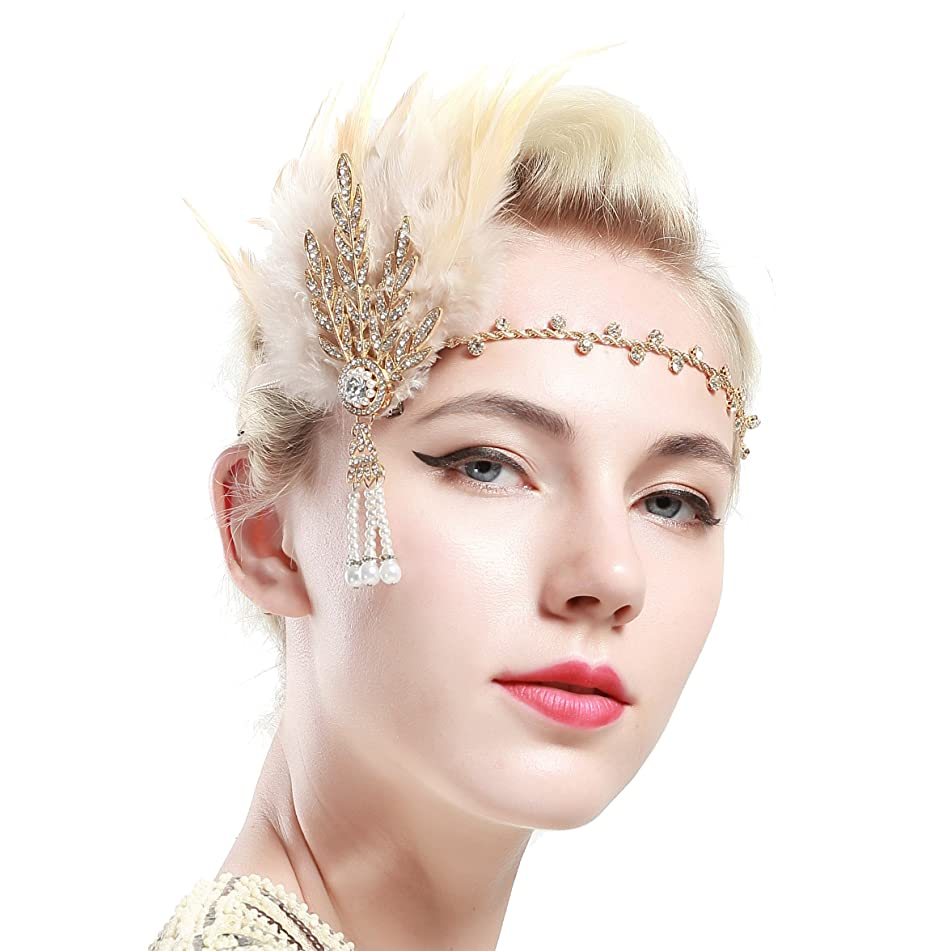 BABEYOND Art Deco 1920's Flapper Great Gatsby Inspired Leaf Medallion Pearl Headband Black Feather (Gold and Champagne Feather)