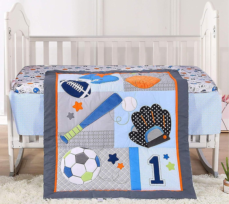 Baby Crib Bedding Set for Boys Ori Choice Baseball 3 Pieces Sports Blue Direct stock discount