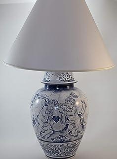Lampada con paralume in maiolica, dipinta a mano