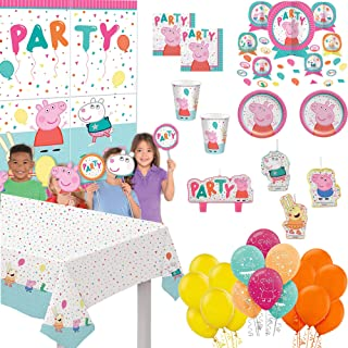 Peppa Pig Birthday Party Supplies and Decoration Pack for 16: Plates, Napkins, Cups, Table cover, Table Decoration, Candl...