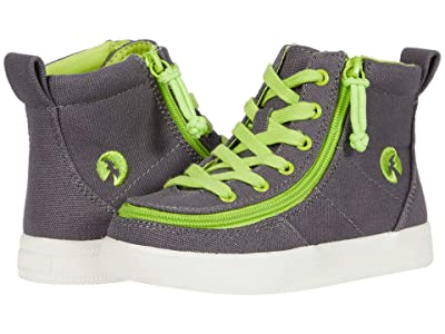 BILLY Footwear Kids Classic Lace High (Toddler) (Charcoal/Acid Green) Boy