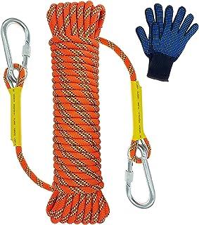 Trsmima Outdoor Climbing Rope, 8MM Diameter Static Rock Climbing Rope 20M(64ft) 30M (96ft) Tree Climbing Rappelling Rope w...