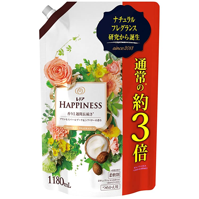 リフト参加者味付けレノアハピネス 柔軟剤 ナチュラルフレグランス プリンセスパールブーケ&シアバターの香り 詰め替え 超特大 1180mL