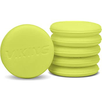 VIKING Foam Applicator and Cleaning Pads, Soft Car Wax Detailing Sponge, 4.25 Inch Diameter, 6 Pack, Yellow