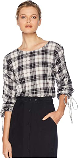 Long Sleeve Drawstring Tartan Plaid Blouse