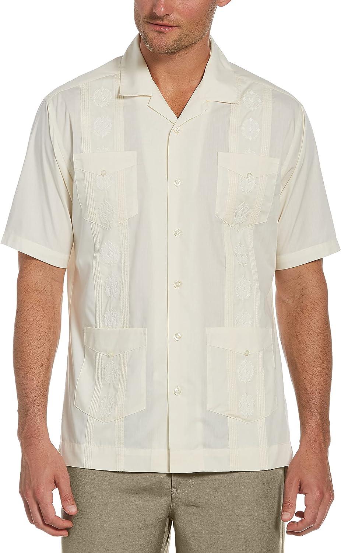 Cubavera Men's Camp Collar Embroidered Guayabera Shirt, Ivory, 4X Large