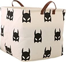 LANGYASHAN Square Storage Bins Waterproof Canvas Kids Laundry/Nursery Boxes for Shelves/Gift Baskets/Baby Shower Basket/Toy Organizer/Baby Room Decor(Bat)