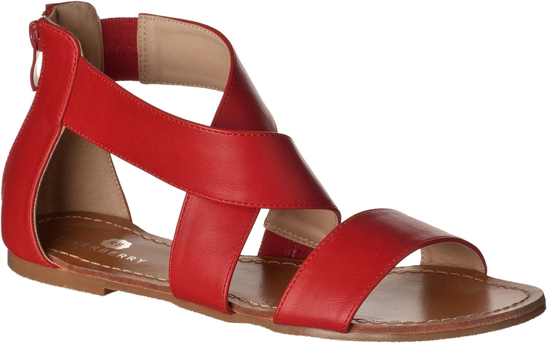 Riverberry Women's Claire Crisscross Strap Open Flat Sandals