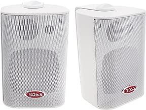 BOSS Audio Systems MR4.3W 200 Watt Per Pair, 4.3 Inch, Full Range, 3 Way Weatherproof Marine Speakers Sold in Pairs