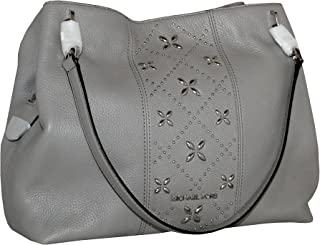 6e24f0d57396 MICHAEL Michael Kors Women s LEIGHTON Studded Large Leather Handbag  Shoulder Tote (Pearl Grey)