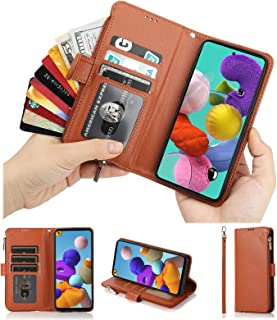 Cavor for Samsung Galaxy A21S Case,PU Leather Zip Pocket Wallet Flip Cover Case Magnetic Closure Book Design with Kickstan...