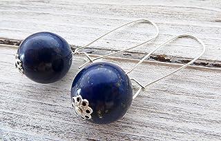 Orecchini con lapislazzuli blu, pendenti in argento 925, gioielli contemporanei, bijoux creati a mano, accessori moda donna