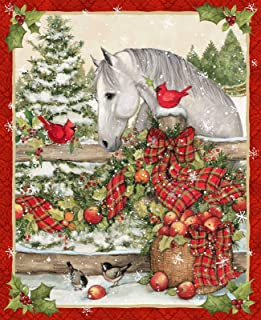 Horse Bow Christmas Holiday Cardinal Bird Holly Tree 36 x 44 inches Panel by Susan Winget for Springs Creative 100% Cotton Sold by Panel