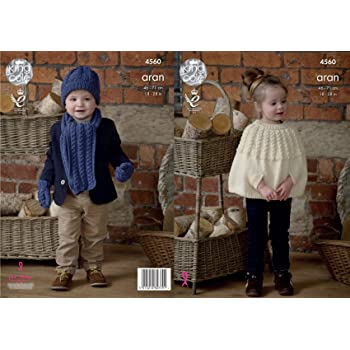 KNITTING PATTERN Childrens Cable Poncho Hat Scarf /& Mittens Aran KingCole 4560