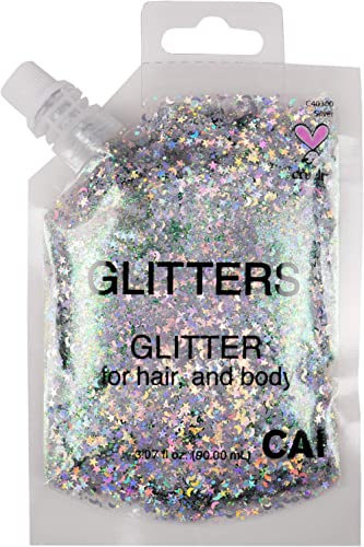 CAI BEAUTY NYC Silver Glitter | Easy to Apply, Easy to Remove Chunky Glitter for Body, Face and Hair | Bag Pouch | Ho...