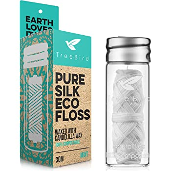 Biodegradable Dental Floss with a Refillable Glass Holder | Naturally Waxed with Candelilla Wax | 100% Compostable | 33yds/30m Natural Silk Spool | Eco-Friendly Zero Waste Oral Care | Mint Flavored