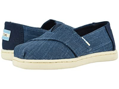 TOMS Kids Alpargata (Toddler/Little Kid) (Majolica Blue Crosshatch Linen) Boy