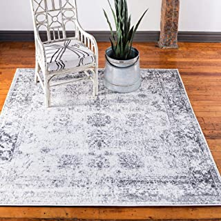 Unique Loom Sofia Collection Traditional Vintage Gray Square Rug (8' x 8')