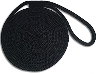 1/2 x 10' Black Double Braid Nylon Dock Line - Made in USA - Superior Strength